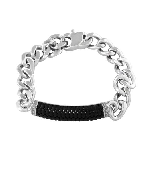 Effy | Metallic Sterling Silver And Ruthenium Cuban Chain Bracelet | Lyst