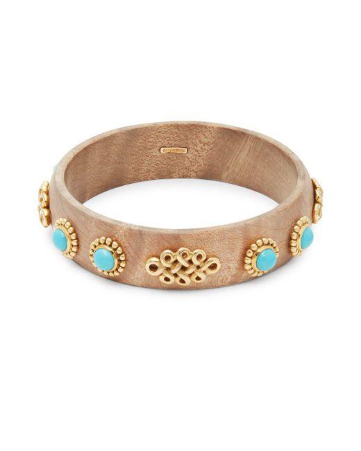Estate Fine Jewelry - Metallic Oakgem Vintage Turquoise & 18k Yellow Gold Bangle Bracelet - Lyst