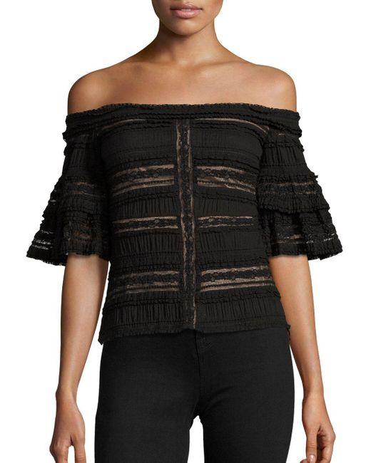 Cinq À Sept - Black Naya Off-the-shoulder Lace Top - Lyst