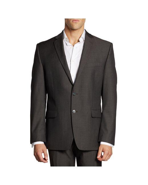 Calvin Klein Black Mini Herringbone Wool Suit Jacket for men