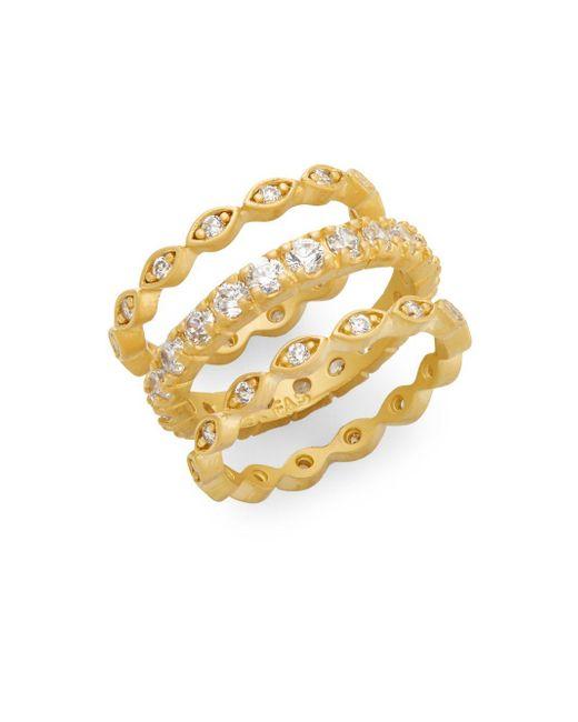 Freida Rothman | Metallic Multi-stone 14k Yellow Gold Vermeil Ring Set | Lyst