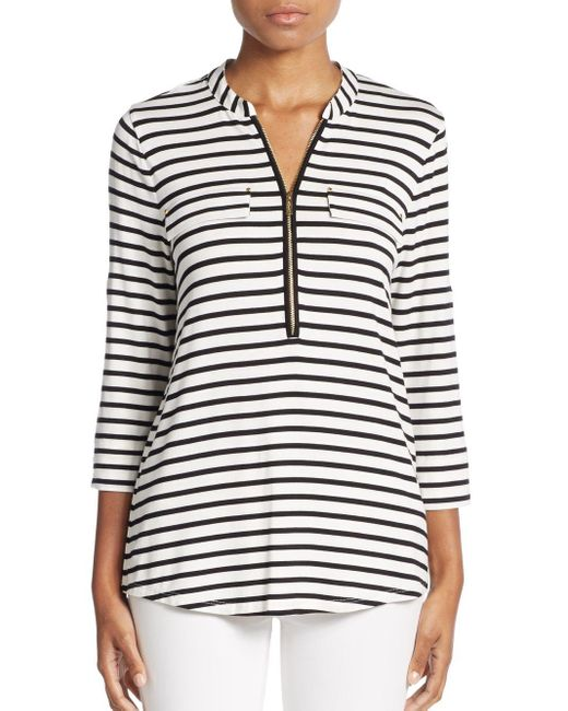 Calvin Klein | Black Striped Zip-neck Top | Lyst