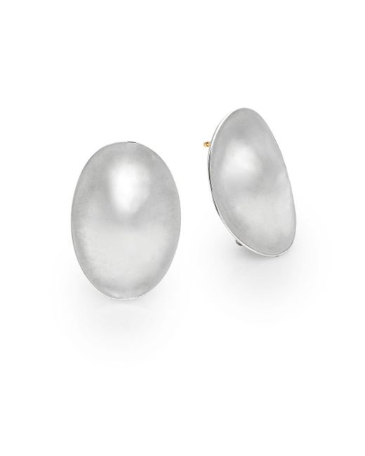 Saks Fifth Avenue | Metallic Sterling Silver Oval Button Earrings | Lyst