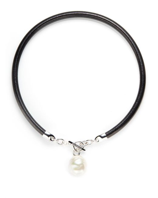 Majorica | Black 18mm Baroque Pearl & Leather Cord Necklace | Lyst