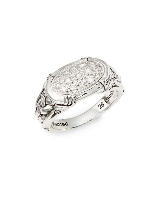 John Hardy   Metallic Bamboo Diamond & Sterling Silver Pavé Ring   Lyst