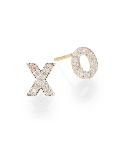 Kacey K | Metallic Diamond & 14k Gold Hugs & Kisses Stud Earrings | Lyst