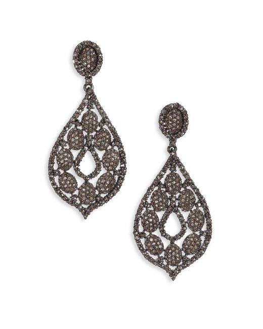 Bavna | Multicolor 6.63 Tcw Diamond & Sterling Silver Pear Drop Earrings | Lyst