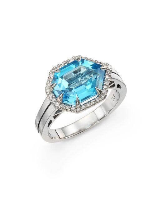 Saks Fifth Avenue | Blue Topaz, Diamond & 14k White Gold Seven-sided Ring | Lyst