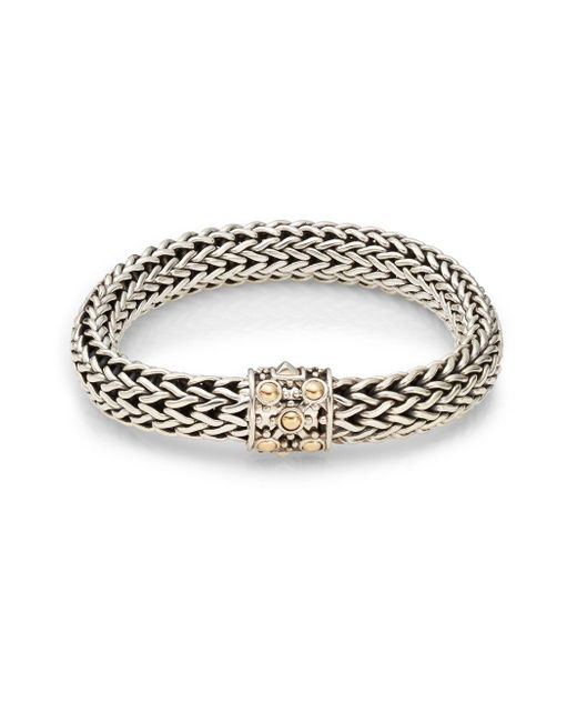 John Hardy | Metallic Dot Sterling Silver & 18k Yellow Gold Braid Bracelet | Lyst