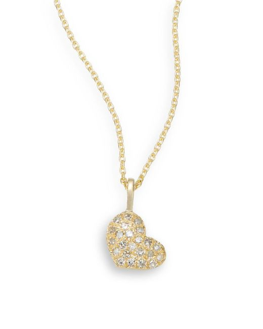 Saks Fifth Avenue | Metallic Diamond & 14k Yellow Gold Heart Necklace | Lyst