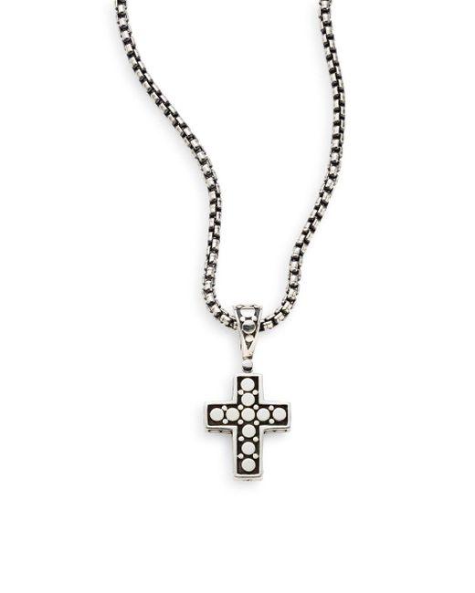 John Hardy | Metallic Dot Sterling Silver Cross Pendant for Men | Lyst