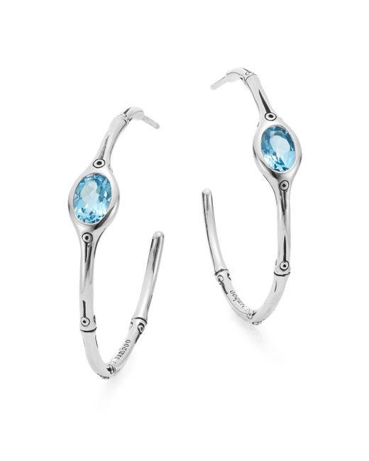 John Hardy | Metallic Kali Blue Stone & Sterling Silver Bamboo Hoop Earrings | Lyst