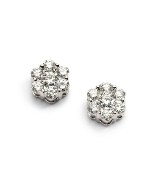 Saks Fifth Avenue | 1.31 Tcw Ideal Cut Colorless Certified Diamond Floral & 18k White Gold Earrings | Lyst
