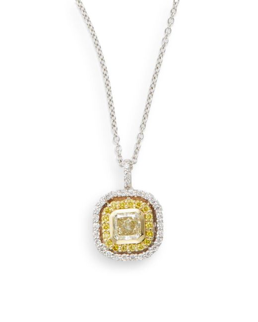 Saks Fifth Avenue | Metallic 0.75 Tcw Certified Diamond, 18k White & Yellow Gold Pendant Necklace | Lyst