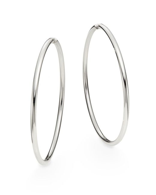 Saks Fifth Avenue | Metallic Sterling Silver Hoop Earrings/2.75"