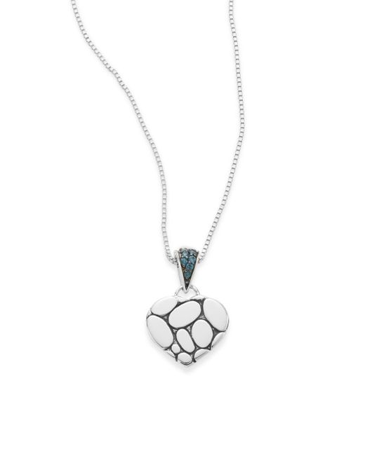John Hardy | Kali Blue Topaz & Sterling Silver Lava Heart Pendant Necklace | Lyst
