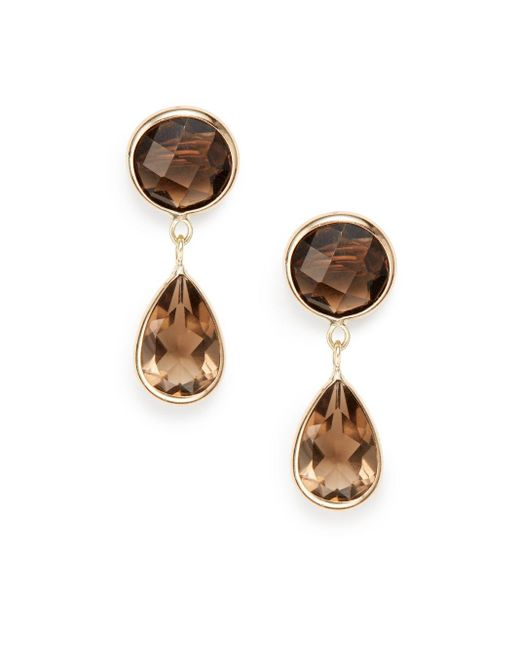 Saks Fifth Avenue | Brown Smoky Quartz & 14k Yellow Gold Earrings | Lyst