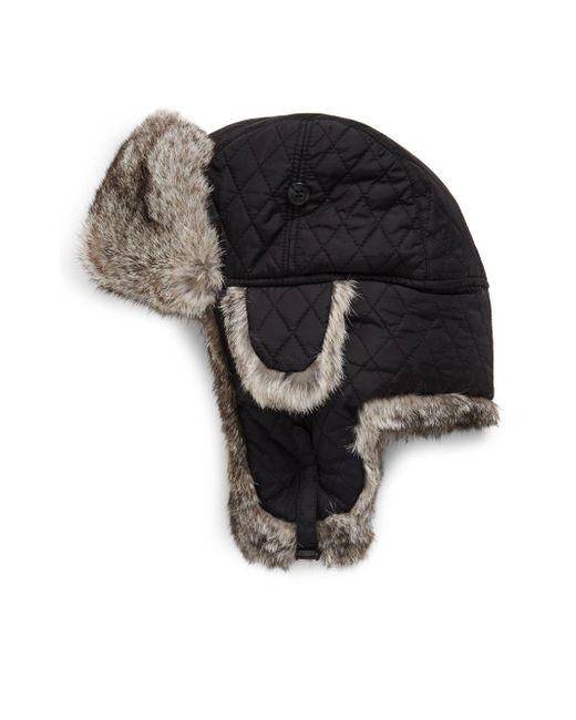 Surell | Black Rabbit Aviator Bomber Hat | Lyst
