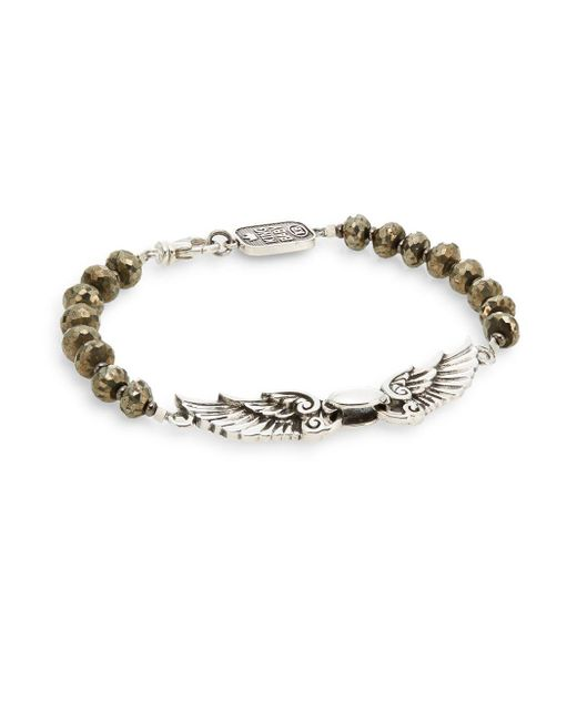 King Baby Studio | Metallic Wingspan Beaded Sterling Silver Bracelet for Men | Lyst