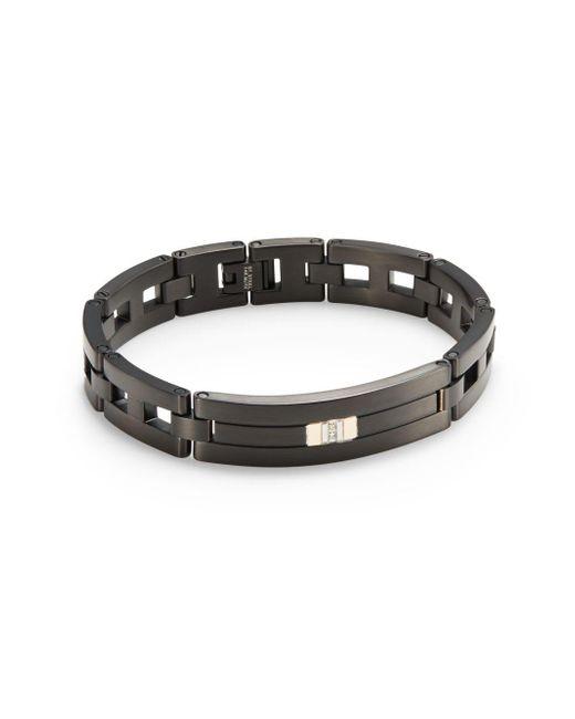 Saks Fifth Avenue   Diamond & Blackened Stainless Steel Bracelet for Men   Lyst
