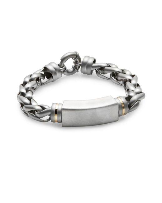 Saks Fifth Avenue | Metallic 14k Yellow Gold & Stainless Steel Bracelet for Men | Lyst