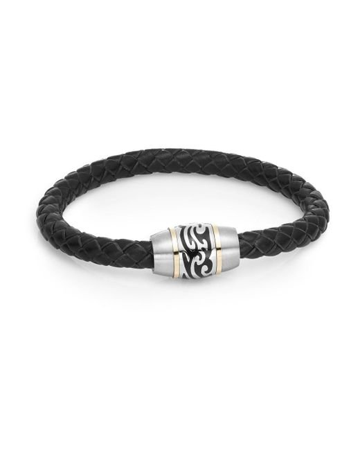 Saks Fifth Avenue | Black Tattoo Stainless Steel & Leather Cord Bracelet | Lyst