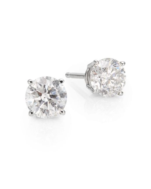 Saks Fifth Avenue | 1 Tcw Diamond & 18k White Gold Stud Earrings | Lyst