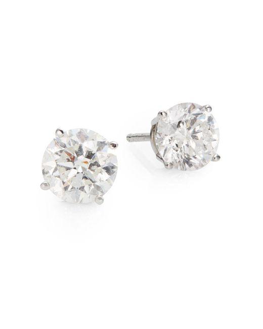 Saks Fifth Avenue | 1.5 Tcw Diamond & 18k White Gold Stud Earrings | Lyst