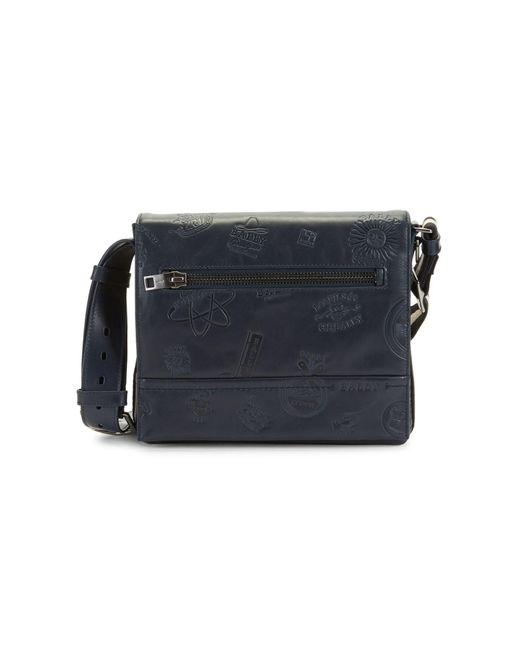 Bally Blue Tamrac Embossed Leather Messenger Bag for men