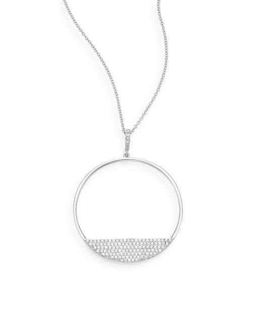 Effy - 0.42 Tcw Diamond & 14k White Gold Circle Pendant Necklace - Lyst