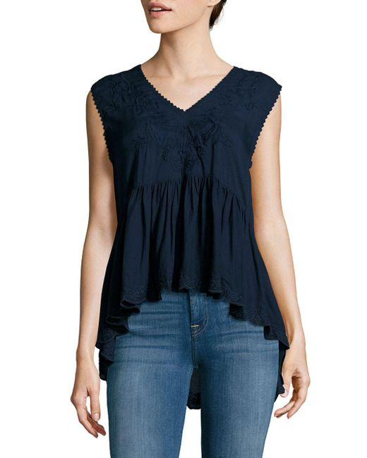 Max Studio | Blue Solid Embroidered Top | Lyst