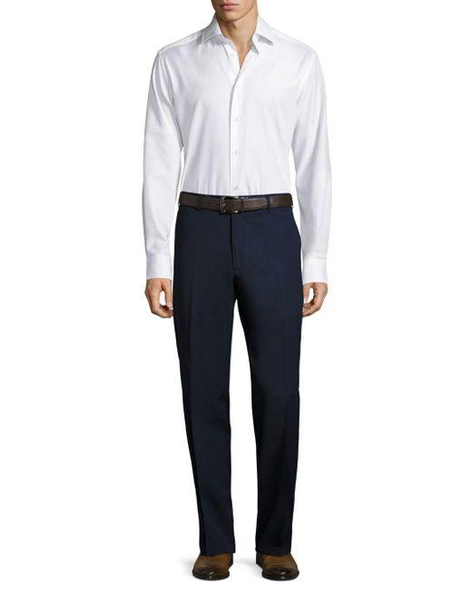 Santorelli - Blue Super 130's Regular-fit Gabardine Trousers for Men - Lyst