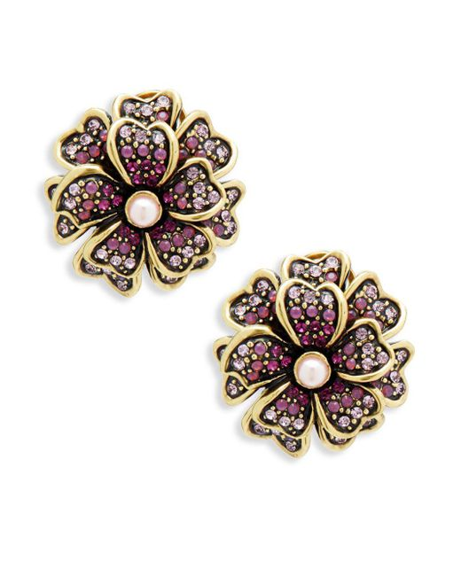 Heidi Daus - Purple Flower Faux Pearl And Crystal Layered Earrings - Lyst