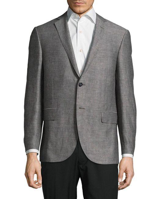 Corneliani Gray Textured Notch-lapel Jacket for men