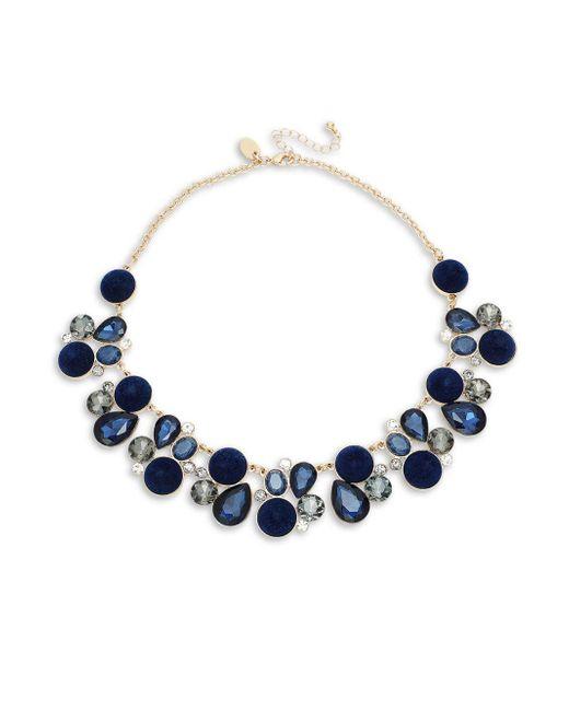 Ava & Aiden - Blue Goldtone Glass Stone & Velvet Bib Necklace - Lyst