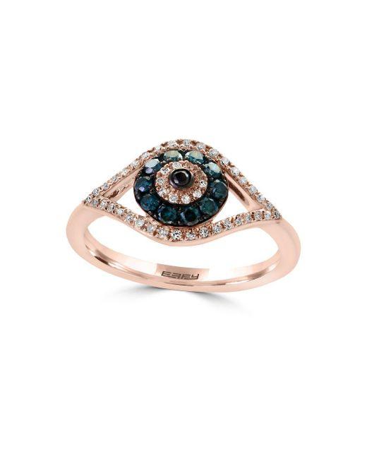 Effy - Metallic Novelty Diamond, Black Diamond, Blue Diamond & 14k Rose Gold Ring - Lyst