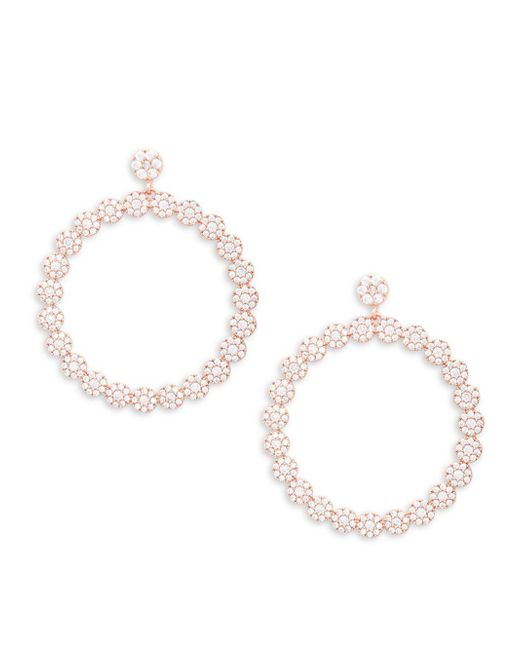 CZ by Kenneth Jay Lane - Metallic Rose Goldplated Cubic Zirconia Pave Disk Drop Hoop Earrings - Lyst