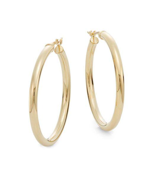"""Saks Fifth Avenue - Metallic 14k Yellow Gold Hoop Earrings/1.2"""" - Lyst"""