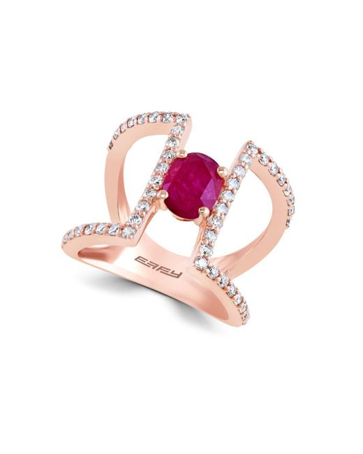 Effy - Pink Final Call Diamond, Natural Mozambique Ruby And 14k Rose Gold Ring - Lyst