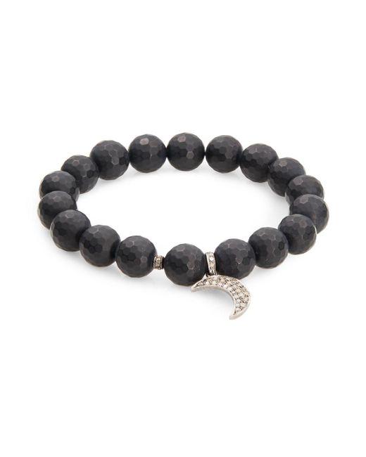 Bavna - Black Onyx & Pavã© Diamond Crescent Charm Bracelet - Lyst