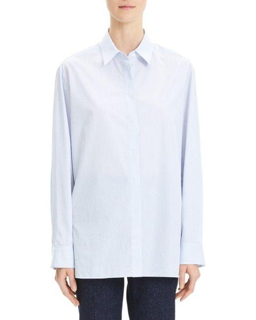 Theory Women's Menswear-inspired Striped Cotton Shirt - White Multi - Size Xs