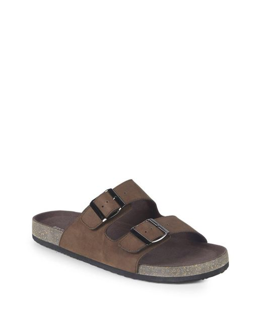 Saks Fifth Avenue - Brown Foster Suede Buckle Sandals for Men - Lyst