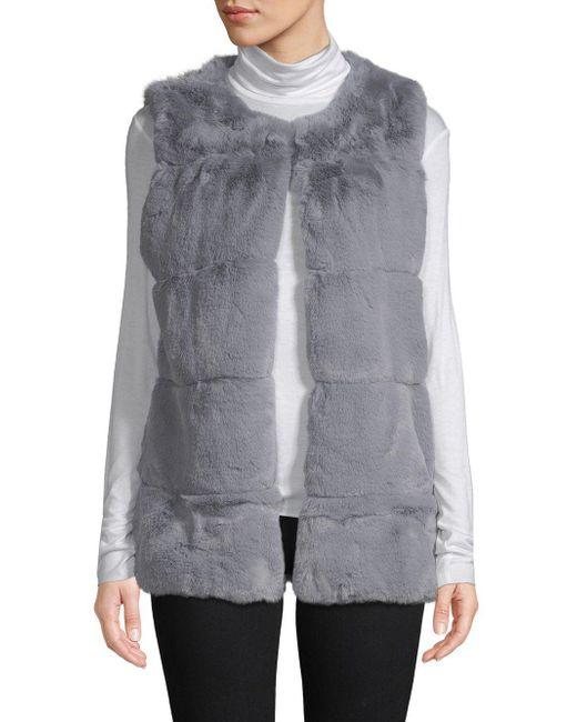 La Fiorentina Gray Classic Faux Fur Vest