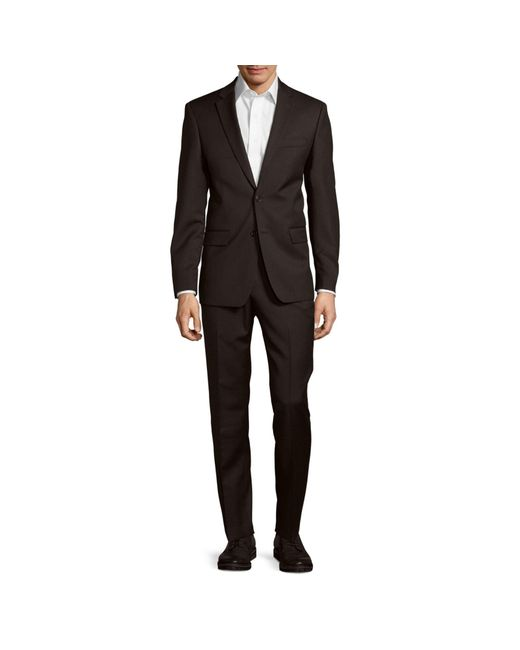 John Varvatos Gray Classic-fit Solid Wool Suit for men