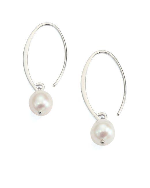 Saks Fifth Avenue - Metallic 9mm Freshwater White Pearl & Sterling Silver Arc Earrings - Lyst