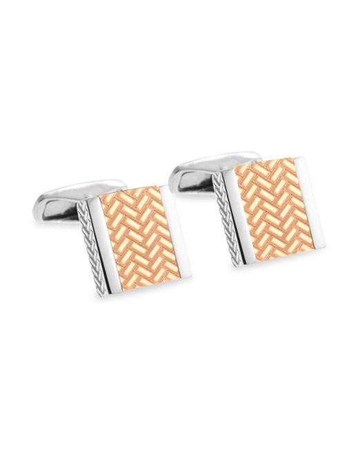 Ermenegildo Zegna Metallic Men's Square Sterling Silver & Rose Goldplated Engraved Cufflinks