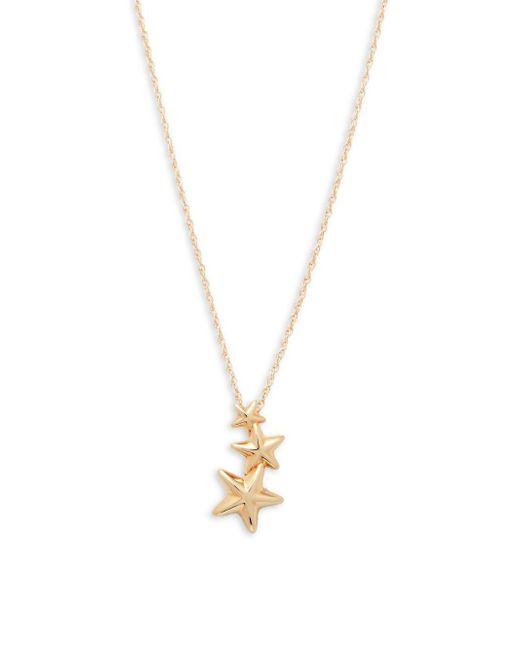 Saks Fifth Avenue - Metallic 14k Gold Triple Star Pendant Necklace - Lyst