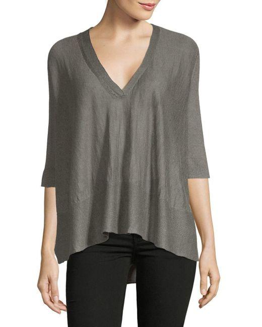 Inhabit - Gray Swing V-neck Linen Blouse - Lyst