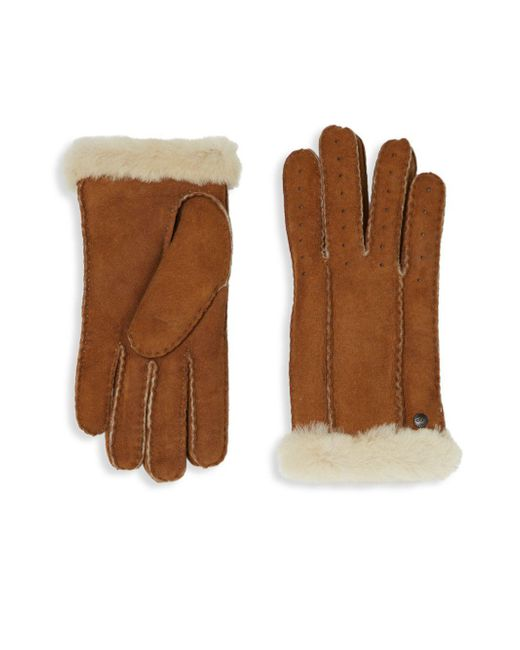Ugg Brown Perforated Shearling Gloves