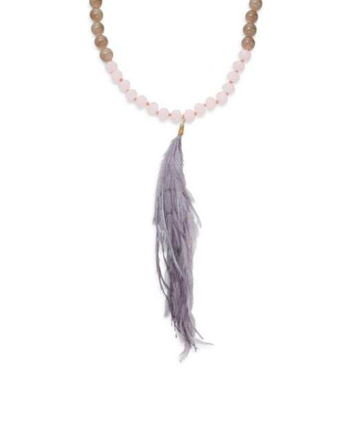 Saks Fifth Avenue - Gray Beaded Feather Pendant Necklace - Lyst